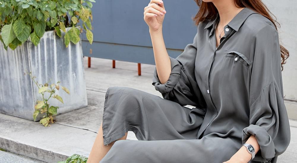 Simple Long Shirt Blouse #44574