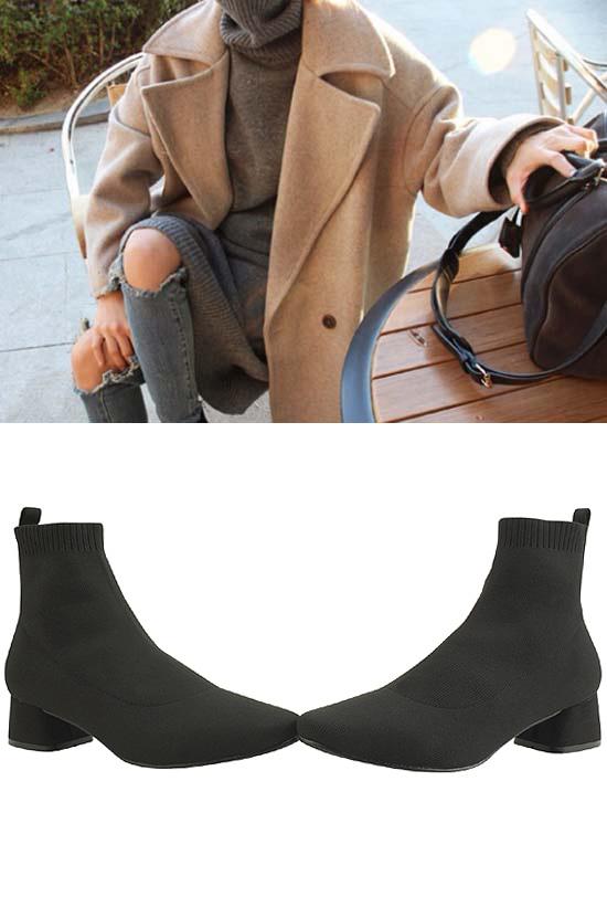 Low-heel knit sock spank ankle boots