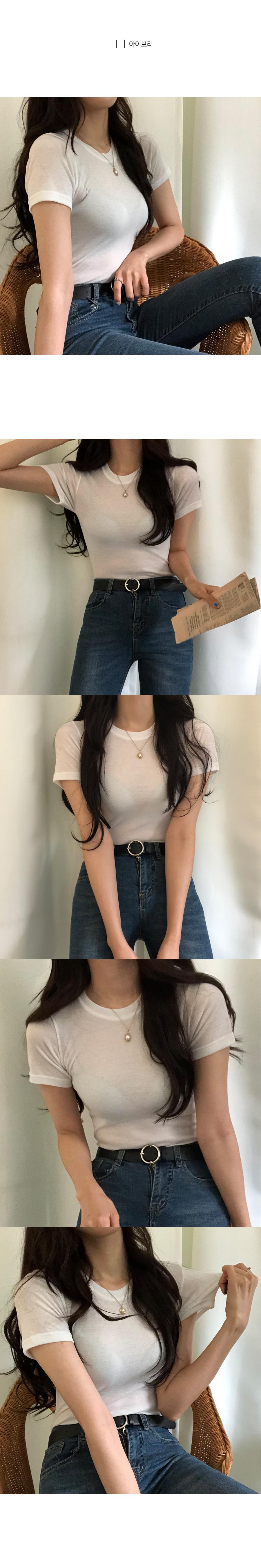 Line pretty Tencel plain short-sleeved tee
