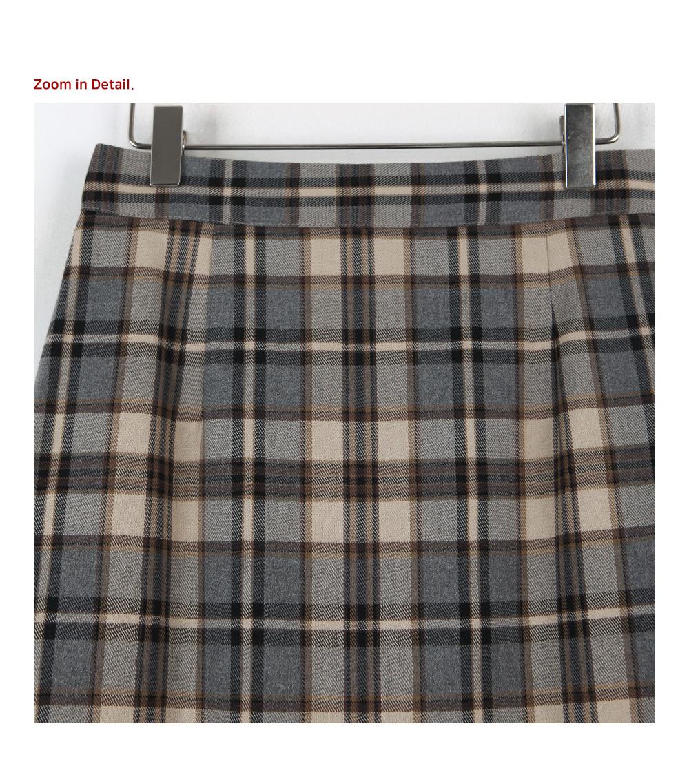 Binz check long skirt