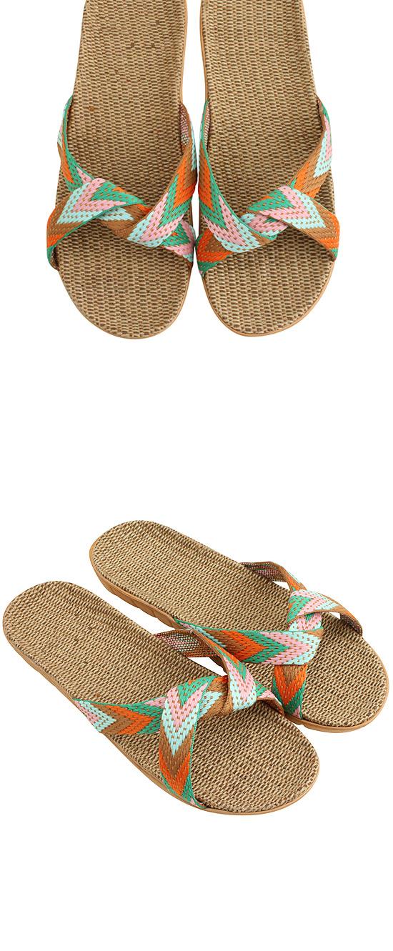 Cross knot rattan slippers orange