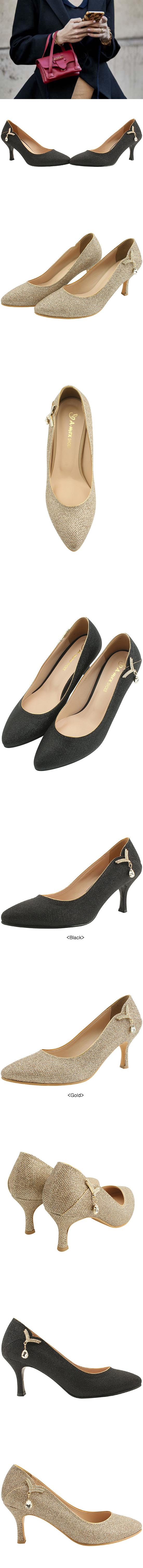 Cubic Brooch Pearl Stiletto High Heels Black