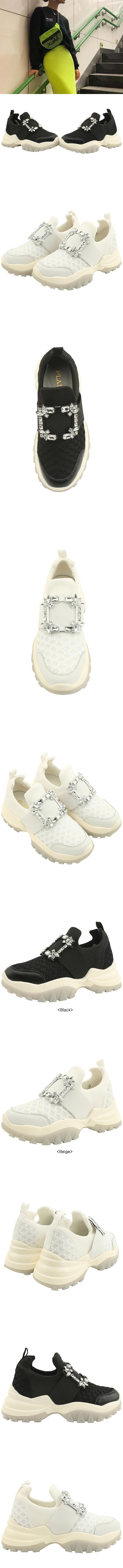 Cubic Banding Cowhide Sneakers Beige
