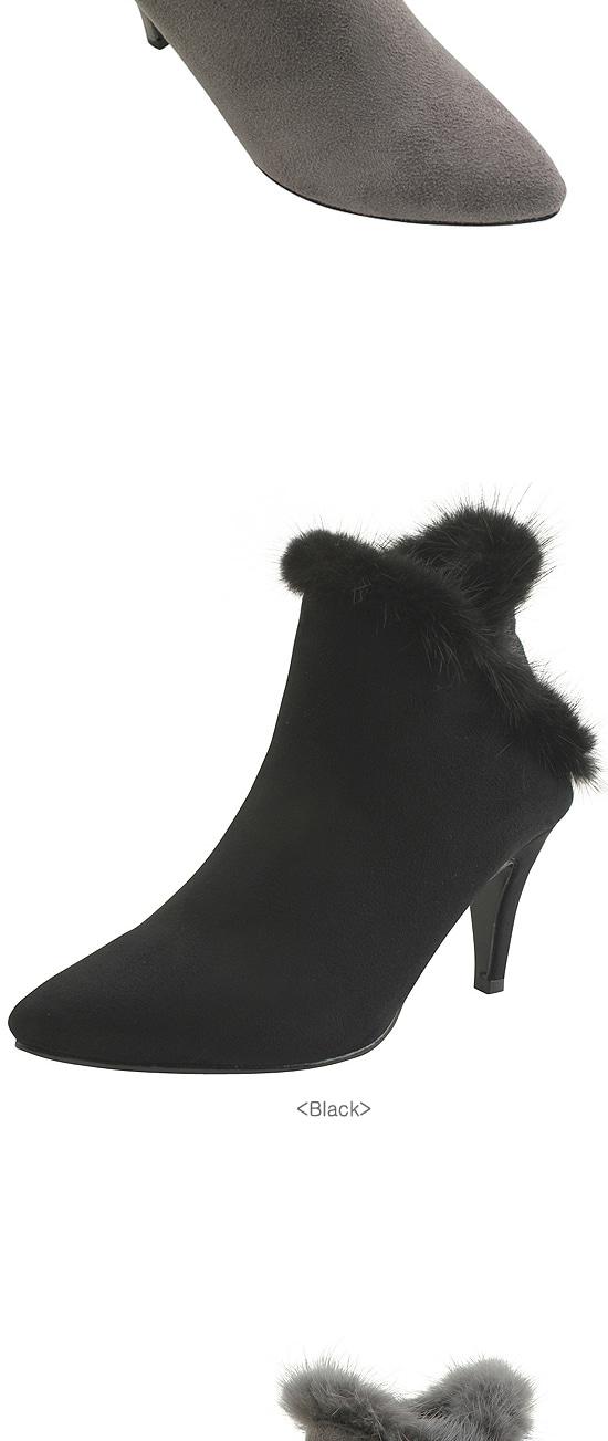 Mink Fur Stiletto Ankle Boots Black