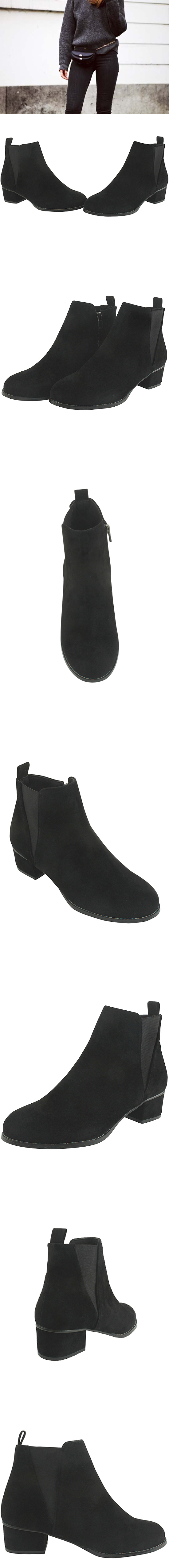 Low Heel Full Heel Chelsea Ankle Boots Black
