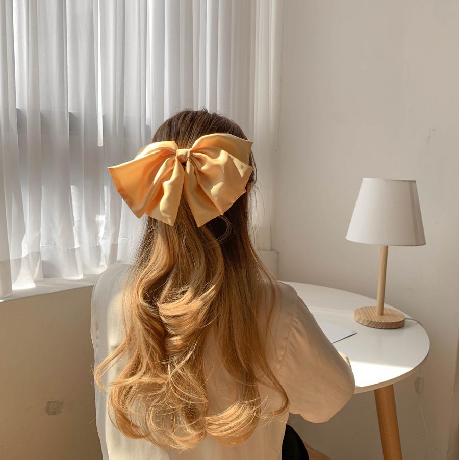 Silk Big Ribbon Hairpin 4color