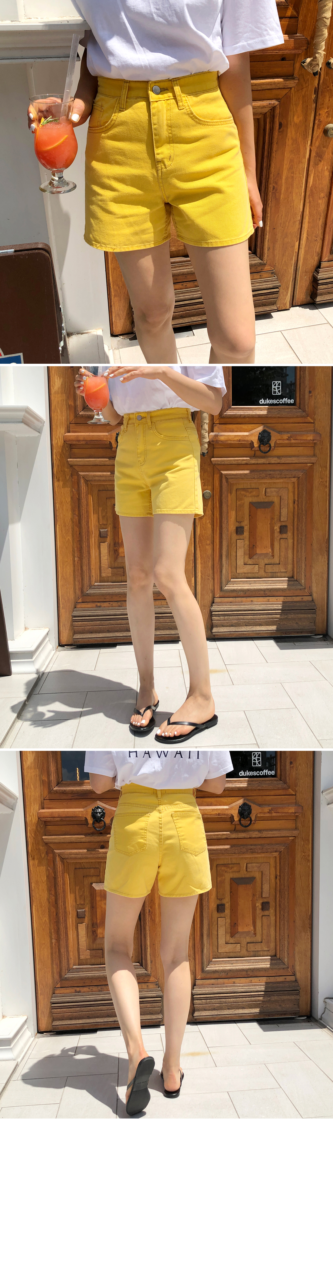 Dying color wash high waist 3 part shorts