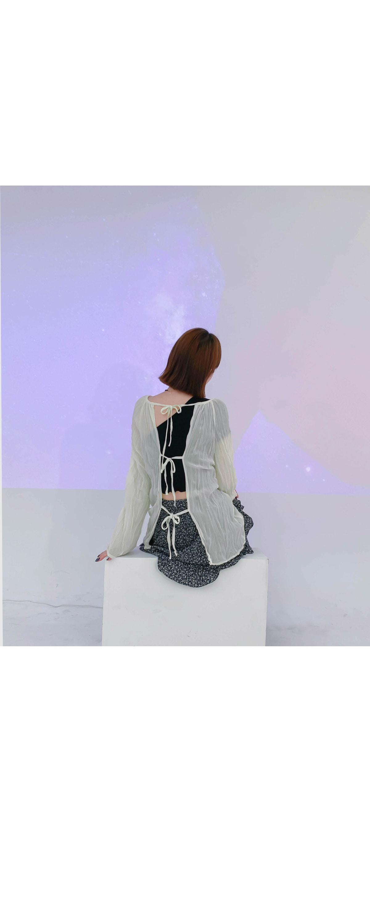 Back ribbon leash blouse