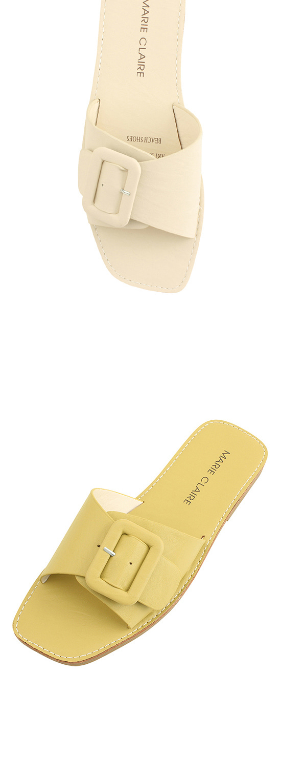 Buckle Strap Soft Cushion Slippers Beige