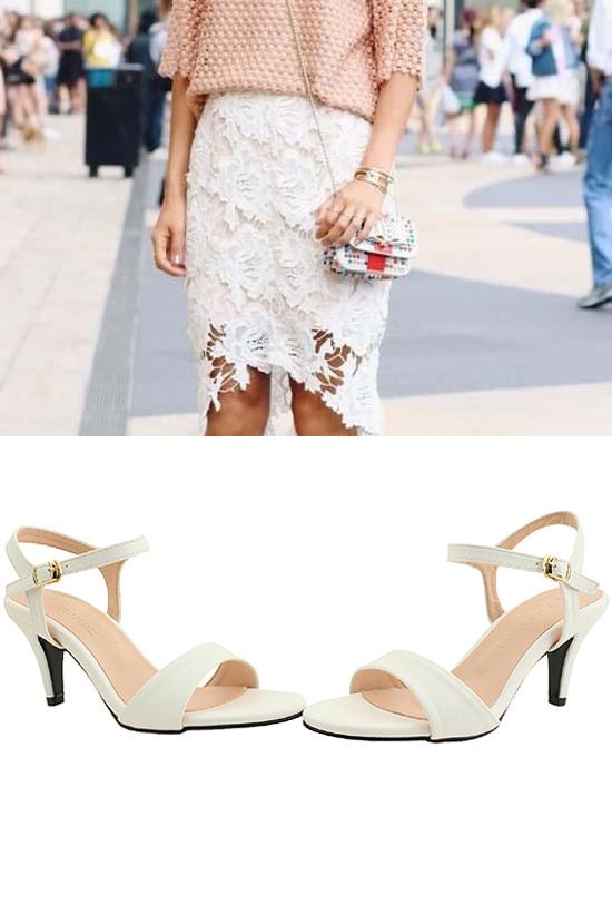 Basic Strap High Heel Sandals 7cm White
