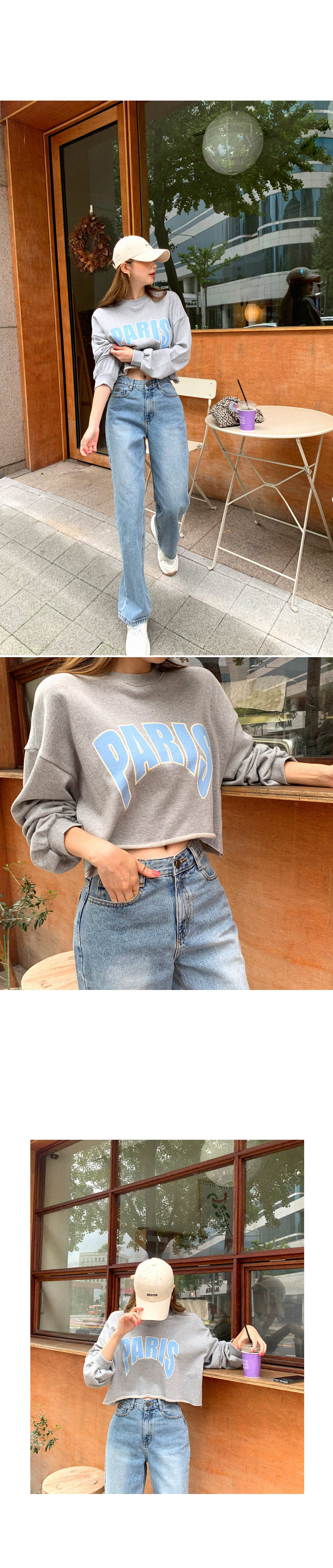 Oversized oversized lettering cropped man-to-man