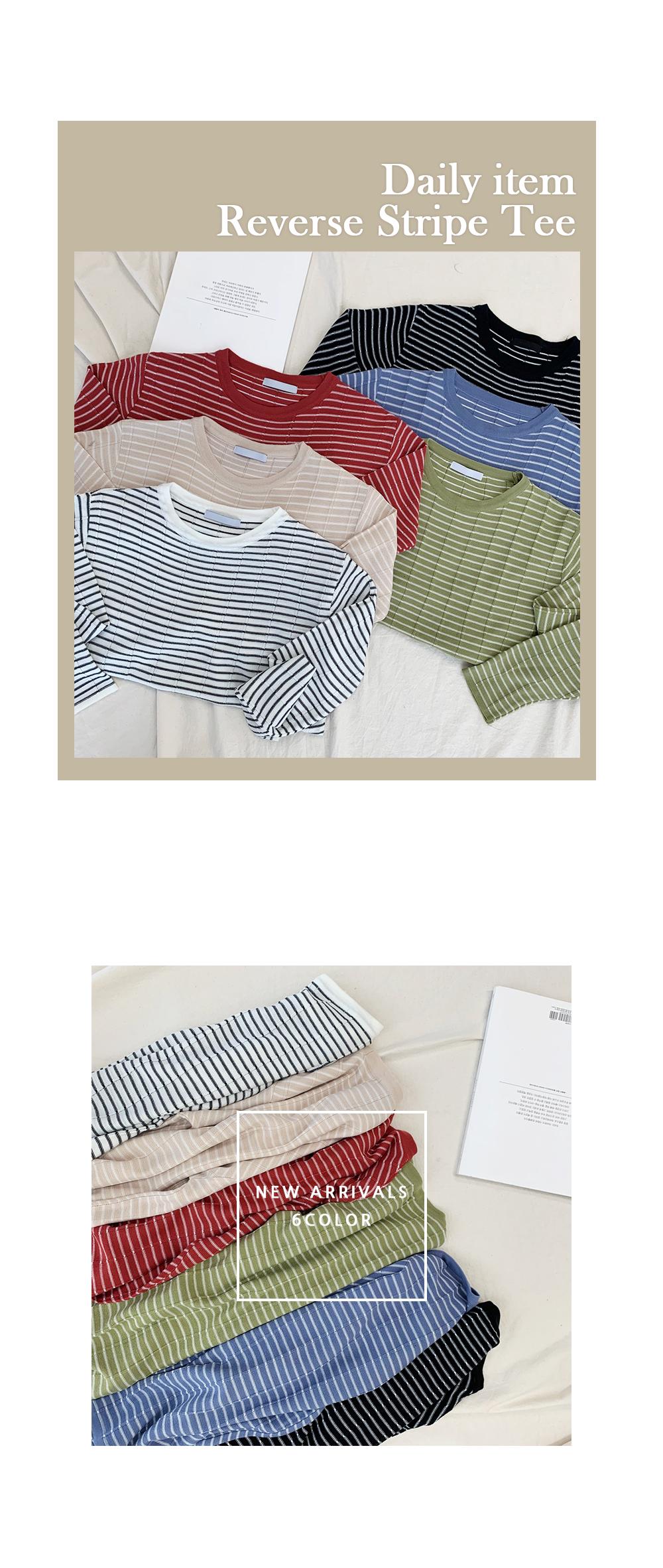 Reverse Striped Long Sleeve Tee