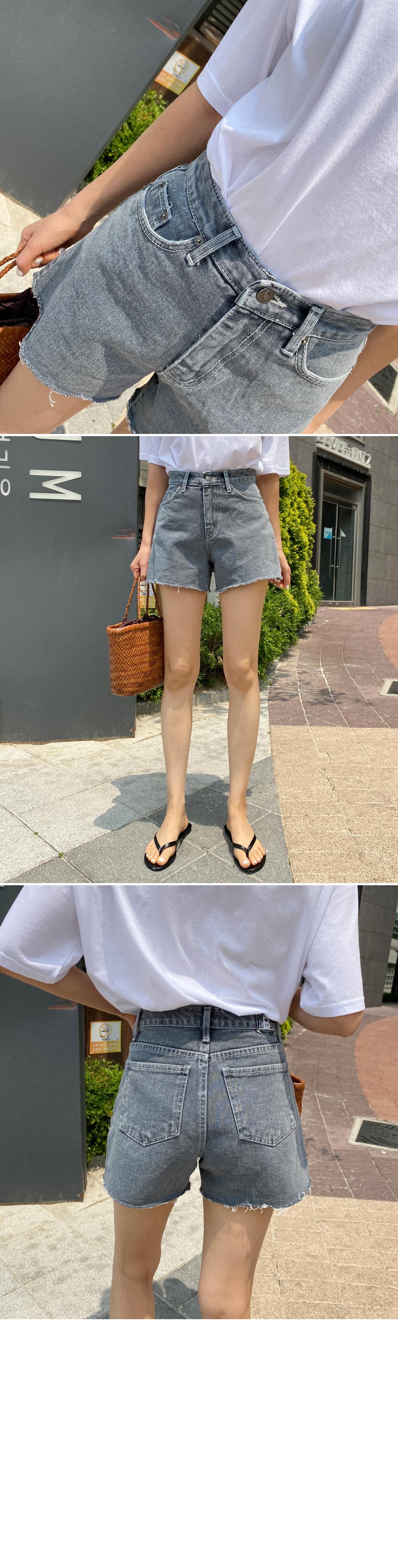 Gray high waist denim short pants