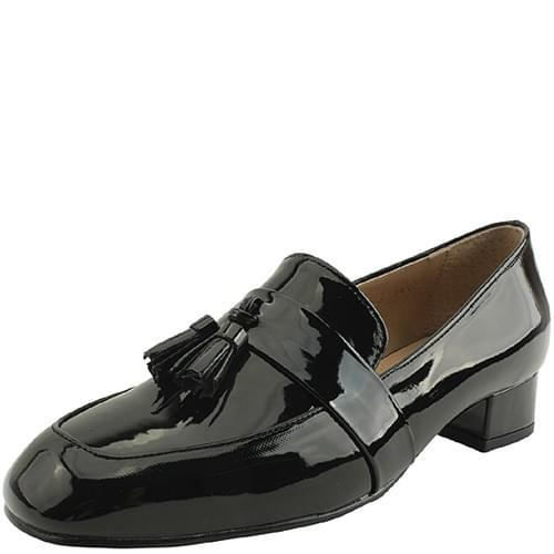 Enamel tassel-embellished low heel loafers 3cm