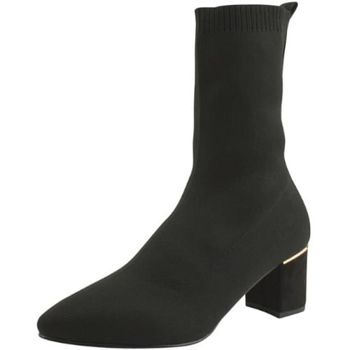 Pointed Nose Knit Span Socks Middle Boots