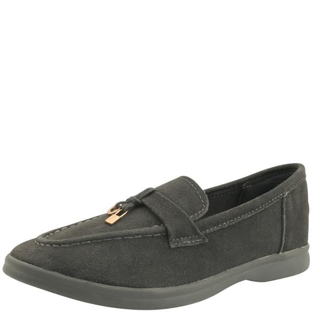 Cowhide Suede Metal Tassel Loafers Gray