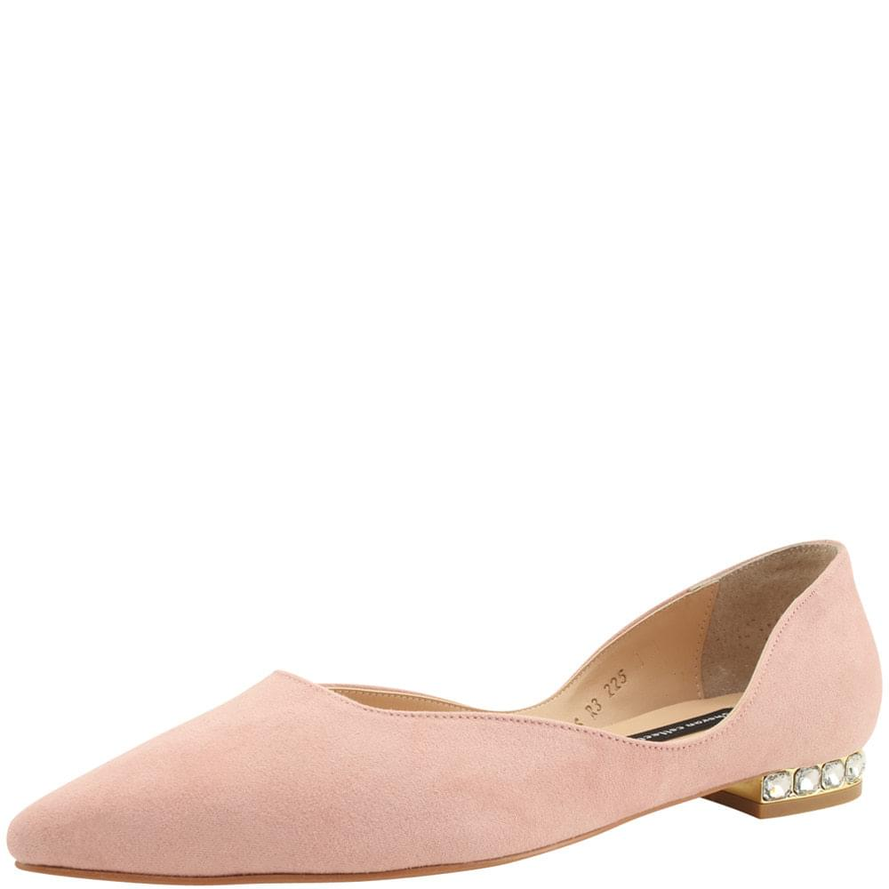 Cubic Low Pumps Stiletto Heel Pink