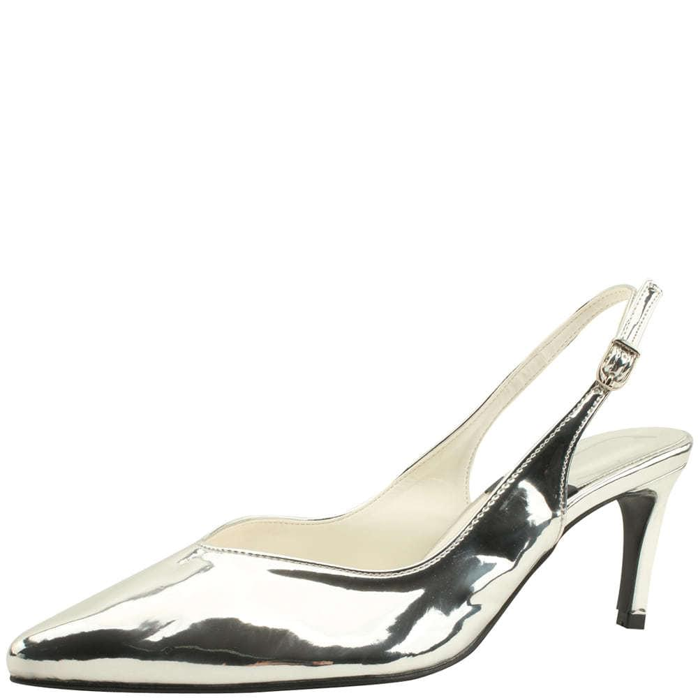 Pointed nose basic slingback high heels silver