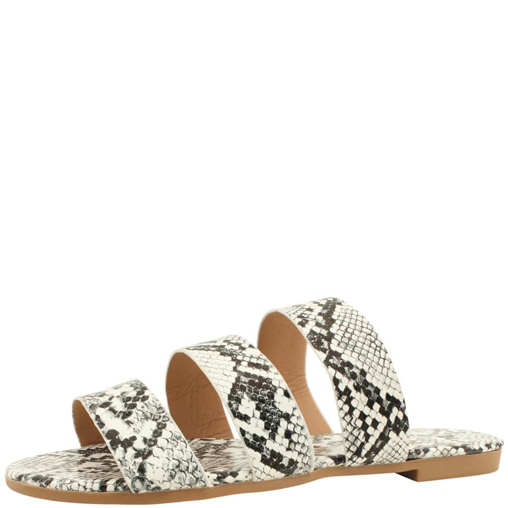 Python Strap Flat Slippers White