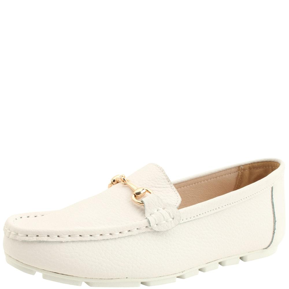 Cowhide Horsebit Chain Simple Loafers White