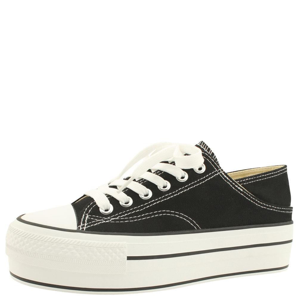 Canvas Platform Mule Sneakers Black White