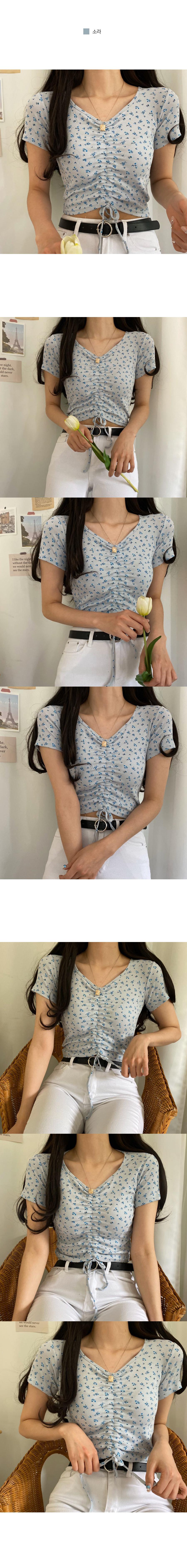 Wildflower Shirring Short Sleeve T-Shirt
