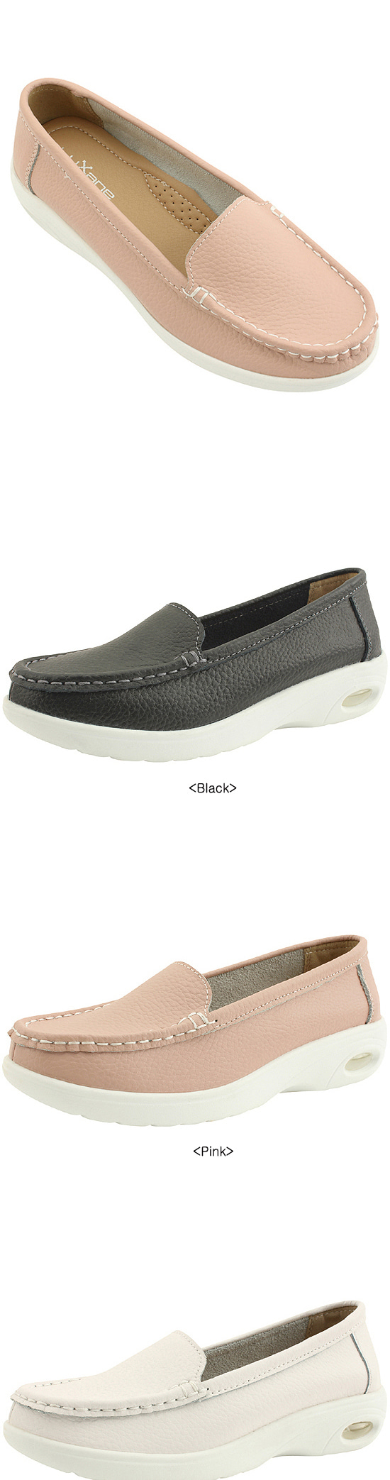 Cowhide Comfort Cushion Whole Heel Loafers Black
