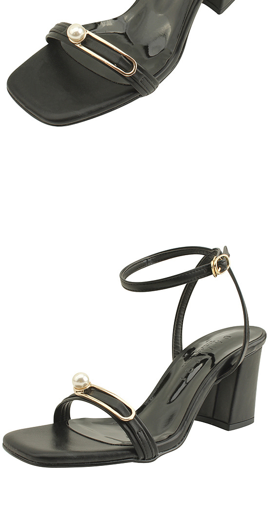 Pearl Buckle Strap High Heel Sandals Black