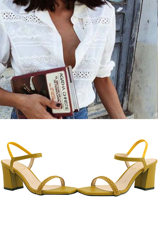 Rattan Strap Banding High Heel Sandals Yellow
