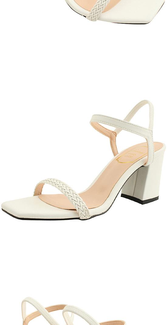 Rattan Strap Banding High Heel Sandals White