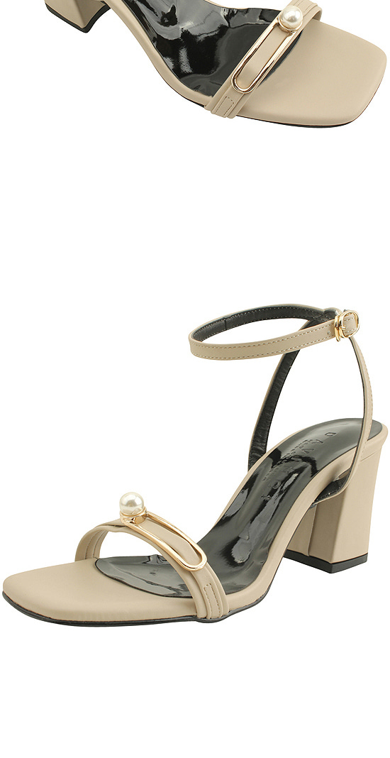 Pearl Buckle Strap High Heel Sandals Beige