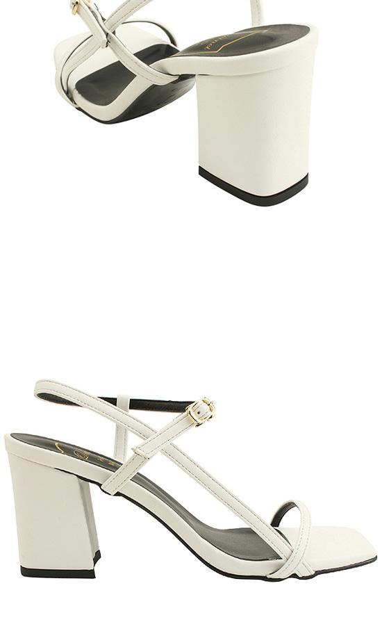 Square Toe Strap High Heel Sandals White