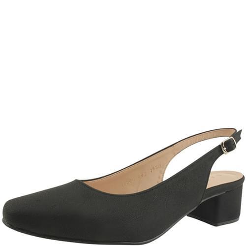 Slingback Full Heel Square Nose Middle Heel Black
