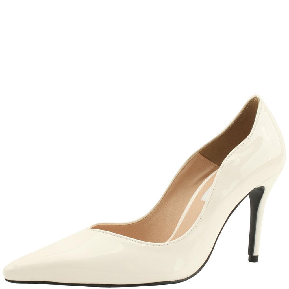 Wavy Stiletto Enamel High Heels White
