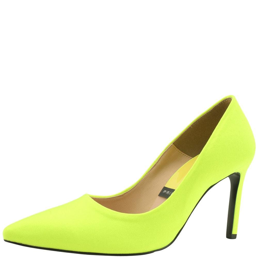 Satin Vivid Stiletto Heel 9cm Fluorescent Yellow