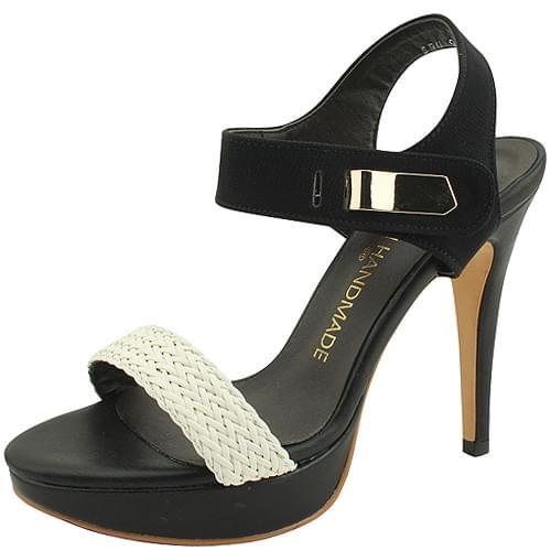 Rattan Gabosi Kill Heel Sandals 11cm Black