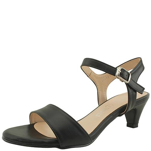 Basic Middle Heel Strap Sandals 5cm Black