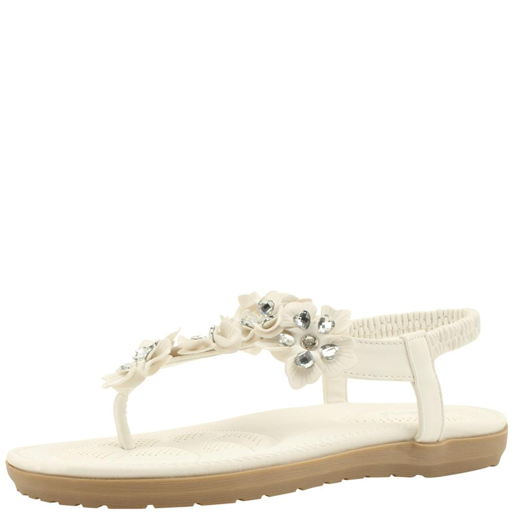 Cubic Flower T Strap Heel Flat Sandal White