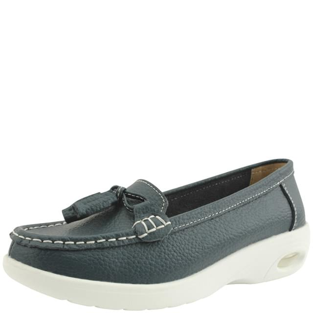 Cowhide Tassel Full Heel Loafers Navy