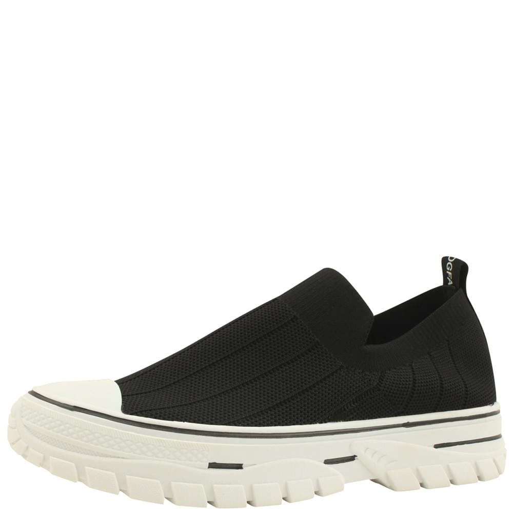 Ribbed Knit Soft Sneakers Black