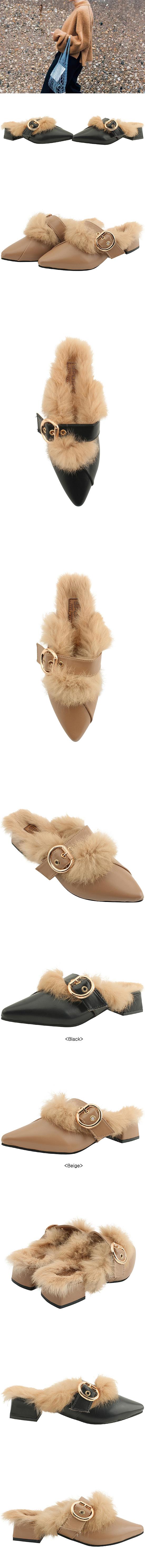 Levit Fur Pointed Nose Mary Jane Blocker Beige