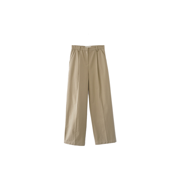 cotton pintuck semi-wide pants