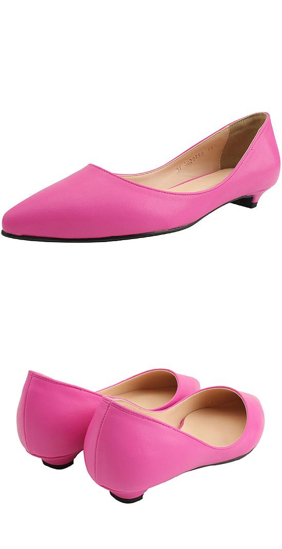 Stiletto slim low heel pumps pink