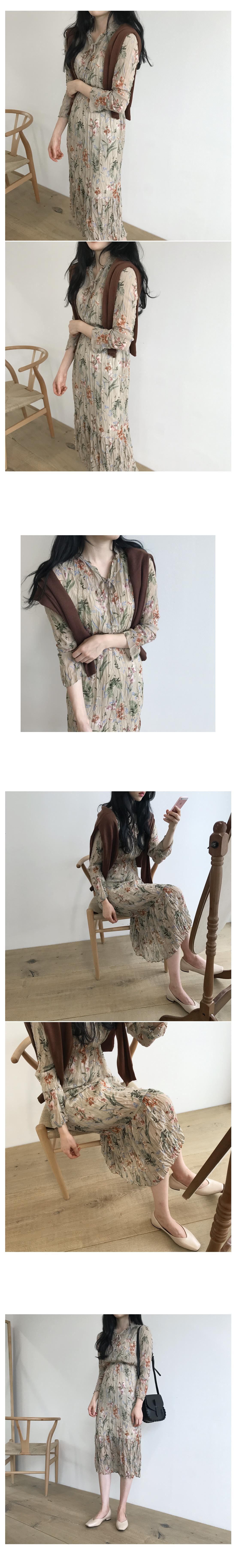 Dew Flower Long Dress-Brown