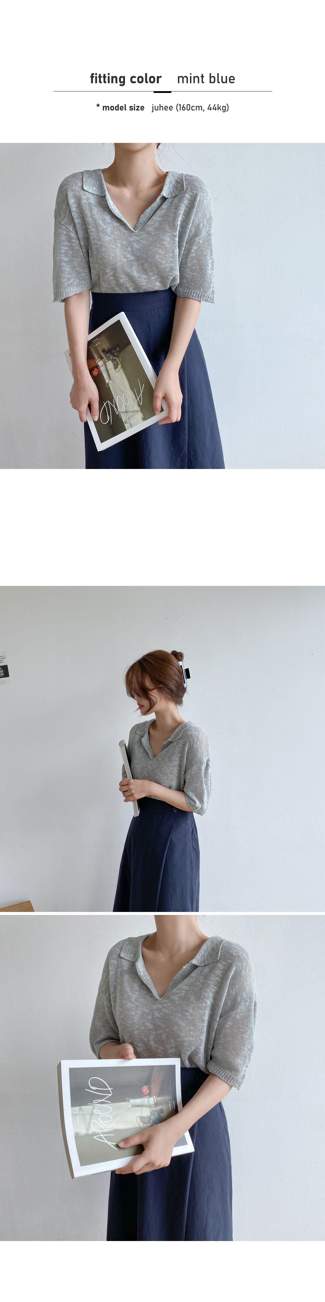 Snow Slab Collar Knitwear - Black, Mint Blue Same Day Shipping
