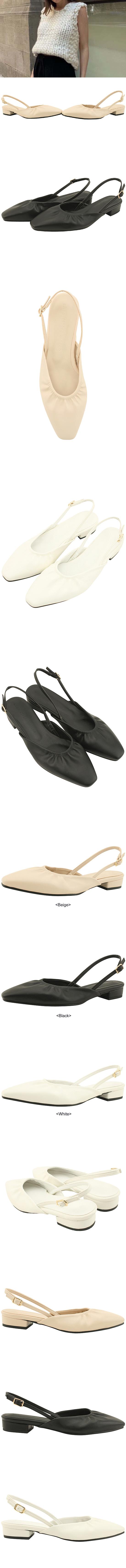 Square Nose Ruffle Slingback Flat Sandals Black