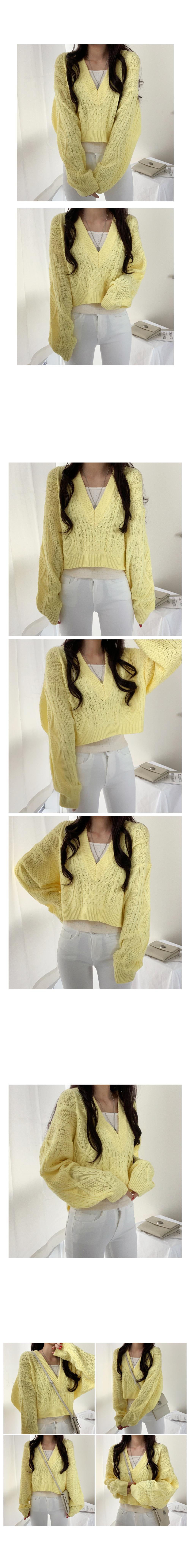 Spring Twisted V Crop Knitwear