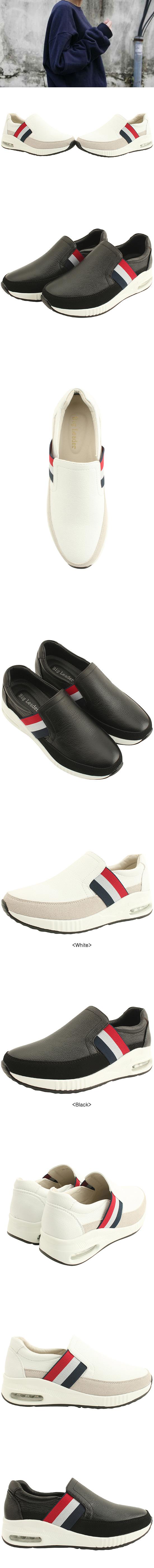 Cowhide Three-wire Banding Sneakers Black