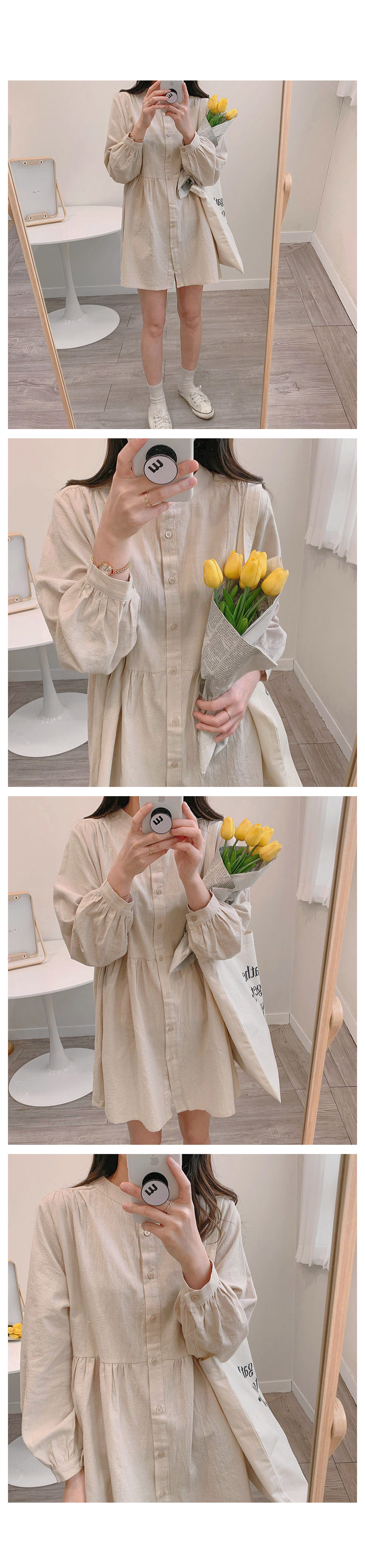 Shirring shirt mini ops-3color