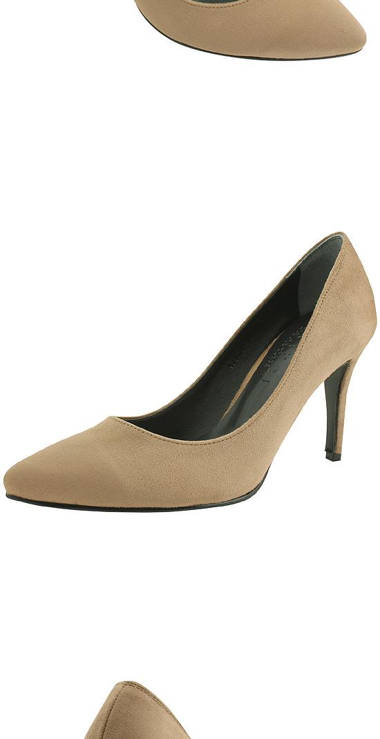 Beige suede stiletto high heels
